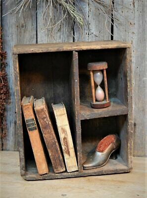 AAFA Early Antique Wooden Box Cubby Full w/ 19th C Small Books + Display