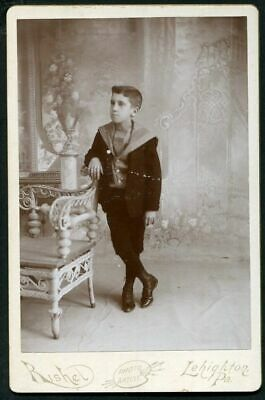 ANTIQUE CABINET PHOTO YOUNG VICTORIAN BOY w RATTAN CHAIR by RICHEL  LEHIGHTON PA
