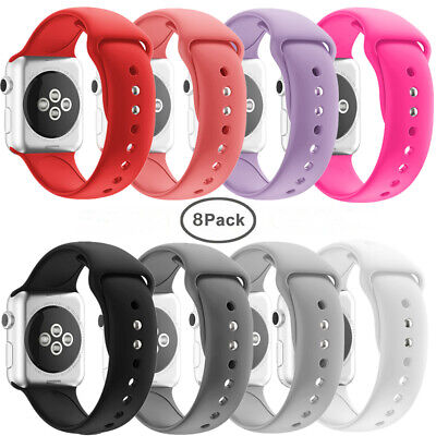 8 Pack Replacement Silicone Soft Band For Apple Watch Series 4 3 2 1 Wrist Strap