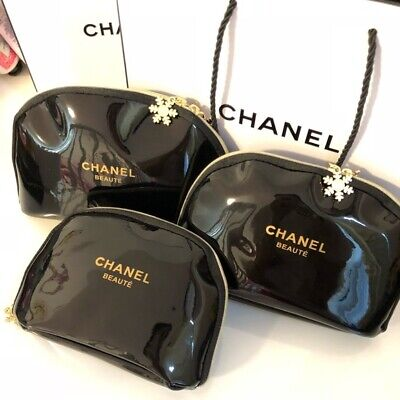 CHANEL VIP GIFT Snowflake Makeup Beauty Bag Pouch set of 3