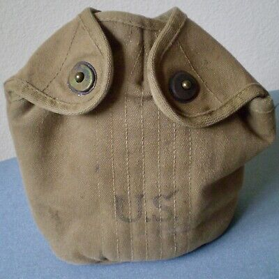 Vintage Original U.S. Army Green Canvas Canteen Cover Dated 1943 WWII