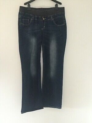 Patch Maternity Jeans Size M Pull On Elastic Waistband Full Length