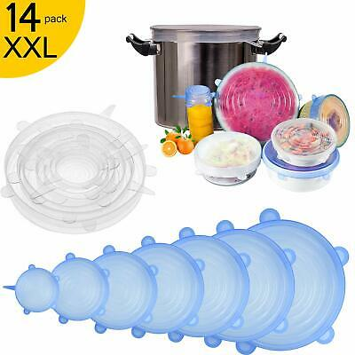 Couvercle Silicone Alimentaire, [14 pcs]Longzon couvercle silicone extensible,