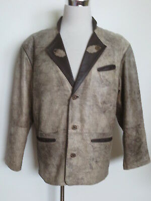 Traditional Jacket Cardigan Trachtensakko Bagutini Cygielman 50 52 Antik Leather