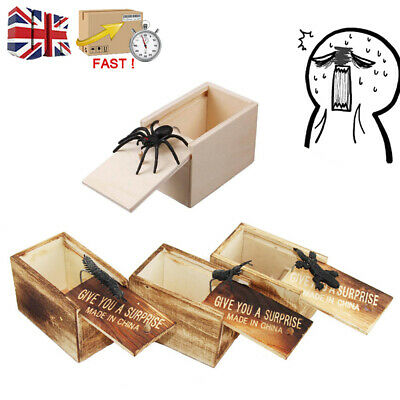 UK Wooden Prank Spider Toy Scare Box Funny Trick Play Joke Gift Hidden In Case