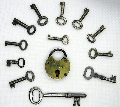 VINTAGE Mini PADLOCK HANDMADE BRASS & STEEL Key Plus Lot 11 Mini Skeleton KEYS