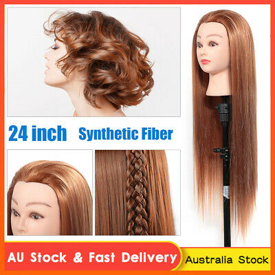"""24"""" 30% Human Hair Practice Hairdressing Training Head Mannequin Doll + Clamp AU"""