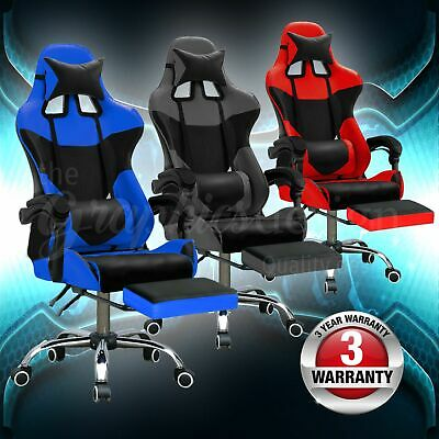 Gaming Chair Office Computer Chairs Seating Racing Executive Recliner PU Leather