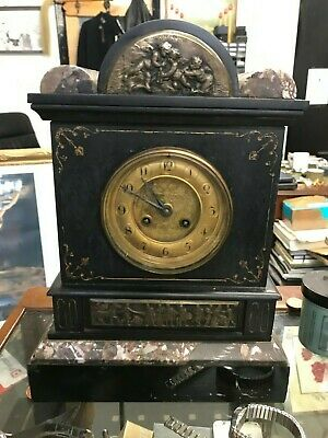 Beautiful French belgium Black Slate and Marble Mantel Clock c1880s working