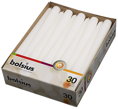 BOLSIUS Long Household White Taper Candles - 10-inch Unscented Premium Quality W