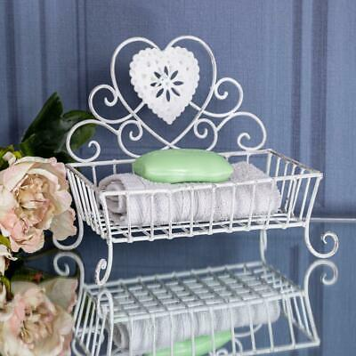 Antique White Soap Dish Heart Ornate Vintage Chic Swirl Bathroom Kitchen W/C
