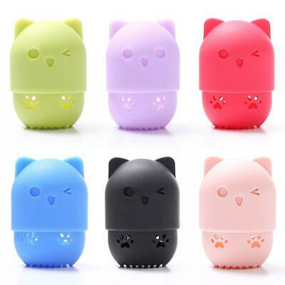 Portable Cosmetic Puff Silicone Carrying Case Cat Shape Makeup Sponge Organizer