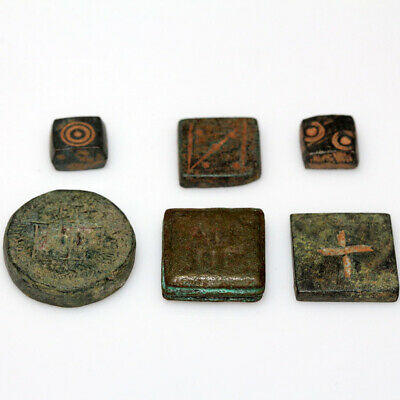 Lot Of 6 Byzantine Bronze Weights Circa 500-700 Ad
