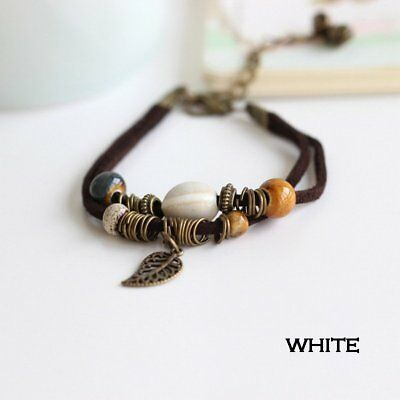 Boho Double Layer Leather Rope Beads Bracelet Handmade Jewelry For Women Gift