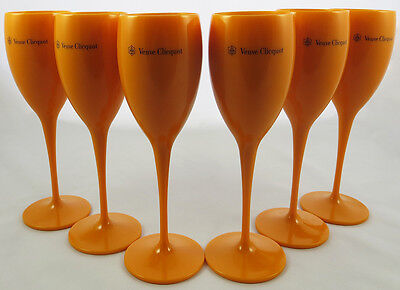 Yellow Label Flute Acrylic Champagne Veuve Clicquot Glasses Brand New Set of 12