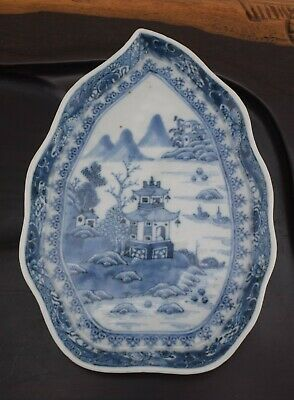 A 18th Century Chinese Export Blue & White Dish Qianlong Leaf Form #3