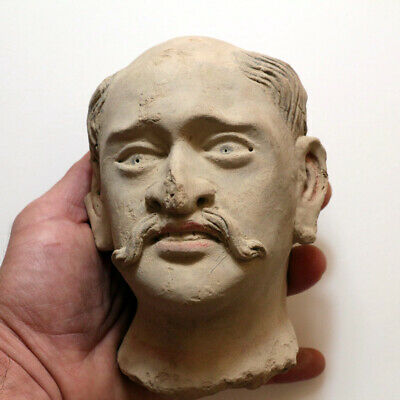 SCARCE-GANDHARA STUCCO FEMALE HEAD FRAGMENT TERRACOTTA 200-300 AD-1017 grams