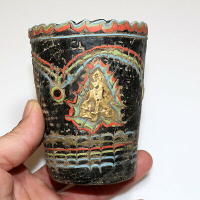 Very Rare Roman Era Phoenician Colored Glass Cup With Gold Decorations Ca 100-20