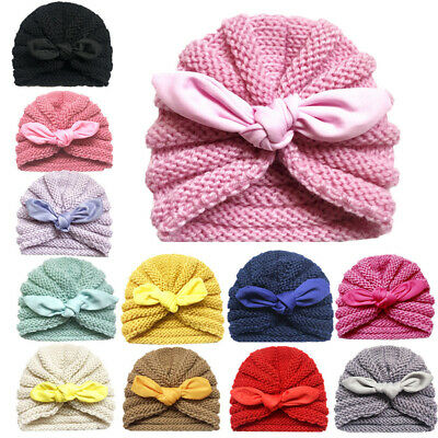 Newborn Baby Wool Knitted Soft Stretchy Hat Rabbit Ear Girl Boy Beanie Caps New