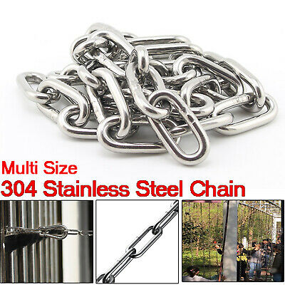1M 304 Stainless Steel Chain Heavy Duty Welded Security Link Hanging Dia 2mm-8mm