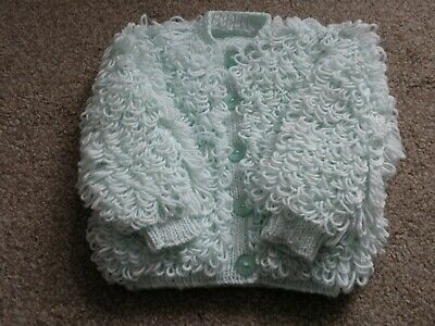 Baby Loopy Cardigan in Pale Green to fit 12-18 months