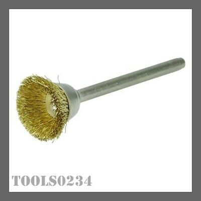 "Weiler 26075 5/8"" Mini Wire Cup Brush - .005"" Brass Fill - 1/8"" Stem - Dremel"