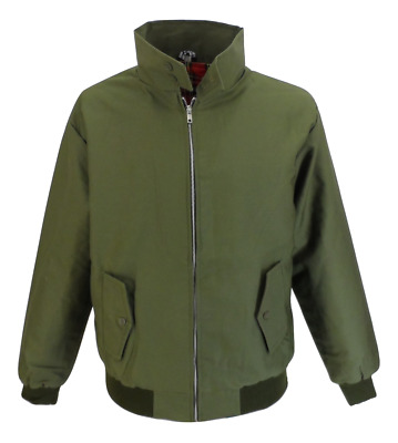 Mens Olive Green Retro Mod Classic Harrington Jacket