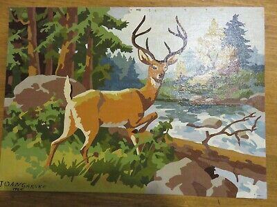 Vintage Wildlife Woodland Paint By Number Pbn Deer Buck Stag Signed Dated 1965