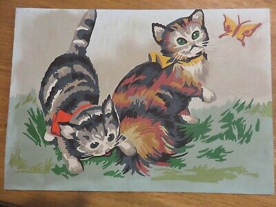 Cute Vintage  Paint By Number Pbn Kittens Playing With Butterfly