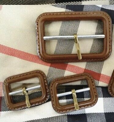 Brown Leather Buckles Replacement For Burberry Trench Coat Set Of 3