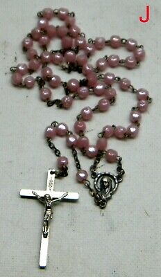 """Childs Pink Glass Rosary 14 ½"""" Long 1 ½"""" Crucifix 1/8"""" Beads Italy Mary Medal J"""
