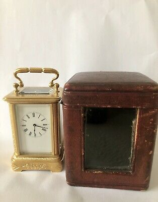 Antique Miniature Engraved Case Carriage Clock, Mantle Clock
