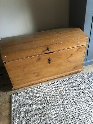 Victorian Pine Domed Chest/Blanket Box/storage Chest/Antique Trunk/Antique Pine