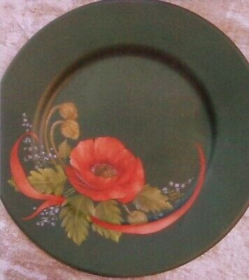 """Barb Watson tole painting pattern """"Red Poppy Plate"""""""