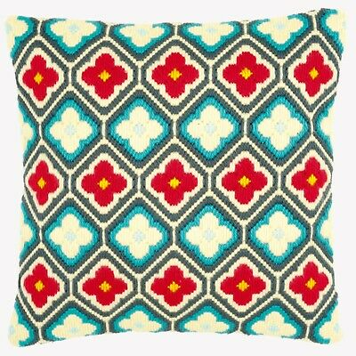 Rhombuses And Flowers Tapestry Long Stitch Cushion Front Kit Vervaco, New