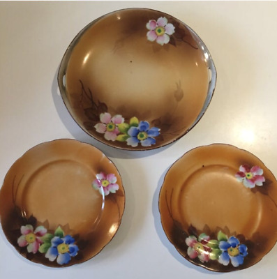 Pretty Vintage 1920s 1930s 20s handpainted cake serving plate & 2 side plates