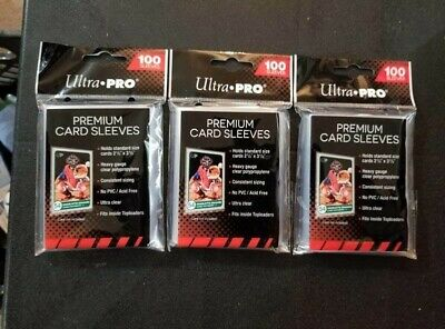 Lot of 3 Ultra Pro Premium Platinum Trading Card Sleeves Heavy Duty 100 each