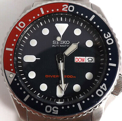 Seiko Automatic Scuba Divers 200m Pepsi Stainless Steel Wrist Watch 7S26-0020 S6