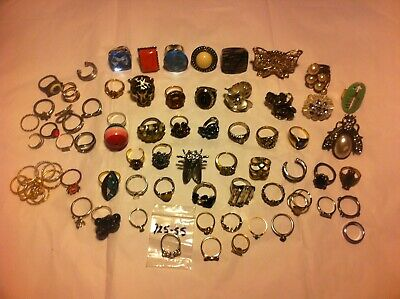 VINTAGE TO NOW ESTATE FIND JEWELRY LOT JUNK DRAWER ALL RING LOT 72 RINGs
