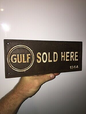 "/""GULF RESTROOM/"" Cast Iron Dealer/'s Wall Bathroom Plaque Sign 9.5/"" Mancave Garage"