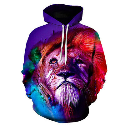 Women Men Sweatshirt 3D Print Novelty Cool Colorful Lion Hoodies Pullover Unisex