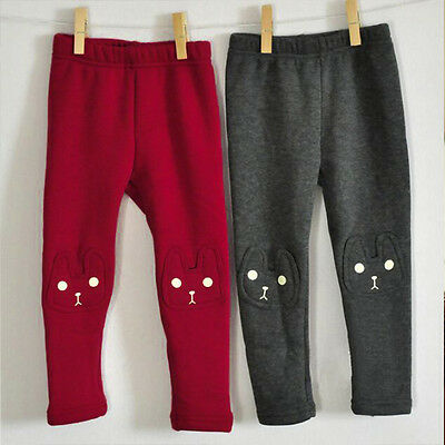 Kids Girls Toddler Cat Winter Leggings Stretch Dress Pants Fleece Lined Trousers