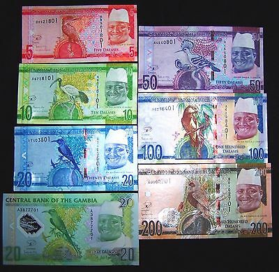 7 Gambia Banknotes: 5,10,20,20,50,100,200 Dalasis (2014/15 issue) UNC currency