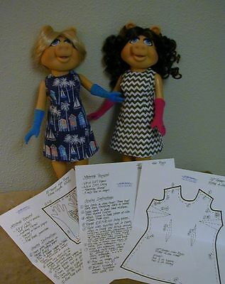 """Fitted A-Line Dress & Glove Pattern 16MP01 For 16"""" Tonner Miss Piggy Dolls"""