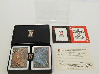 """Vintage KEM Playing Cards Double Deck """"JADE"""" New Sealed w Case"""