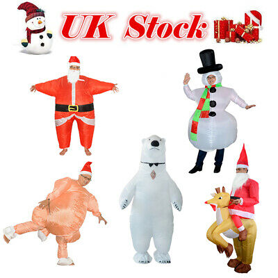 Santa Claus Adult Costume Christmas Inflatable Blow Up Suit Party Cosplay Dress