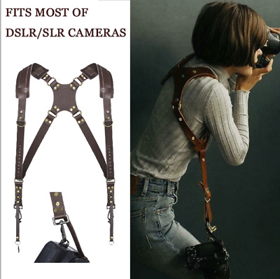 Double Shoulder Leather Camera Strap Quick Release Adjustable Dual Camera Strap
