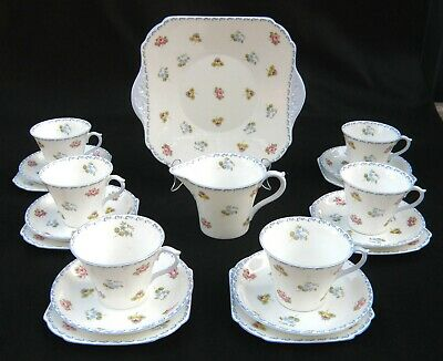 Shelley Pale Blue & White 'Rose, Pansy, Forget-me-not' Tea Set of 20 pieces.