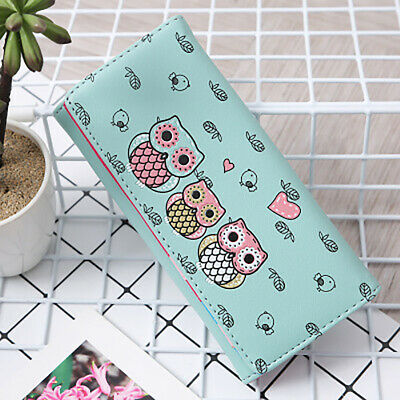 Kawaii Women Cartoon Owl Printed Bifold Faux Leather Long Wallet Purse Gift Litt