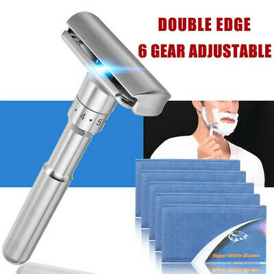 Adjustable Safety Razor Double Edge Classic Mens Shaving Mild to Aggressive 1-6